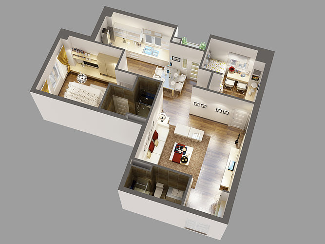 Detailed house cutaway 3d model cgtrader House 3d model
