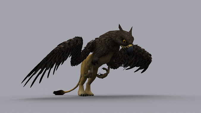 griffon game ready animated model 3d model low-poly rigged animated max fbx tga 1