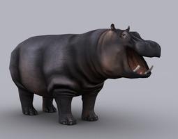 3d asset realtime hippopotamus game ready animated model
