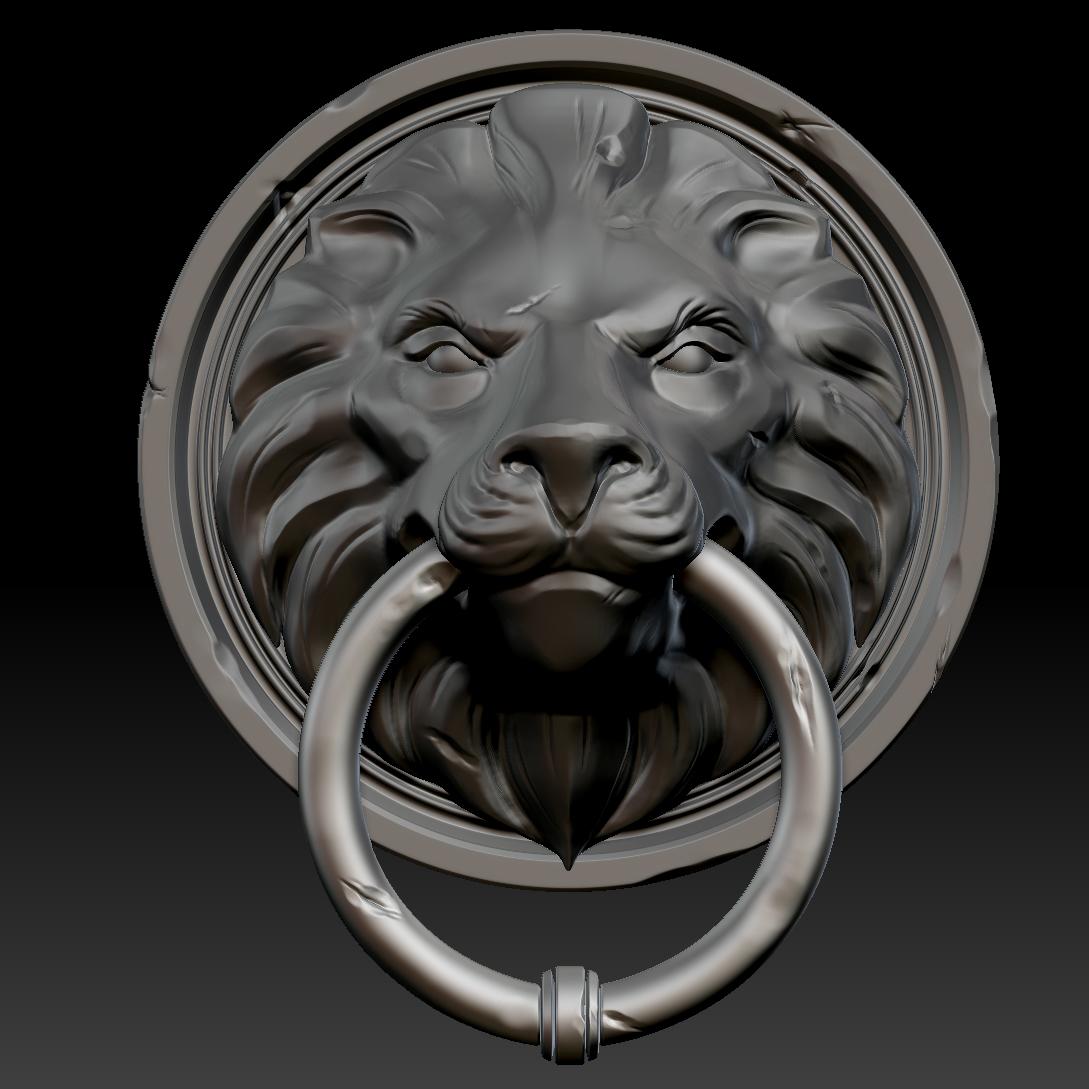 ... lion head door knocker 3d model ztl 2 ... & 3D Lion Head Door Knocker | CGTrader