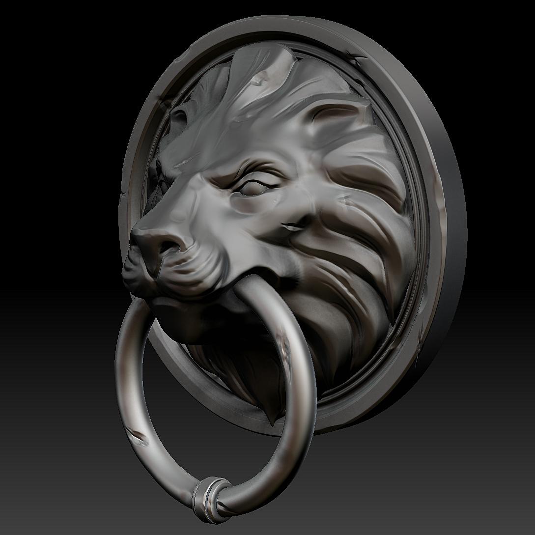lion head door knocker 3d model ztl 1