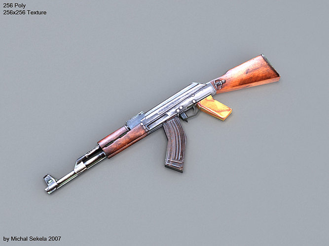 ak-47 low-poly 3d model low-poly max 1