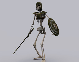 skeleton knight game ready animated model 3d asset low-poly