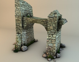 game-ready ruins with plants and rocks 3d asset