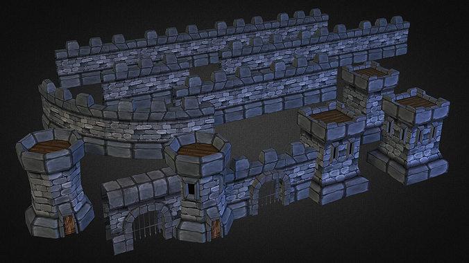 medieval stone castle pack 3d model low-poly max obj mtl 3ds fbx 1