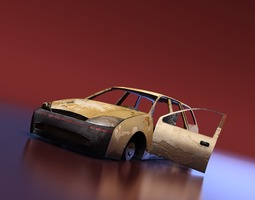 junkyard station wagon 3d model low-poly