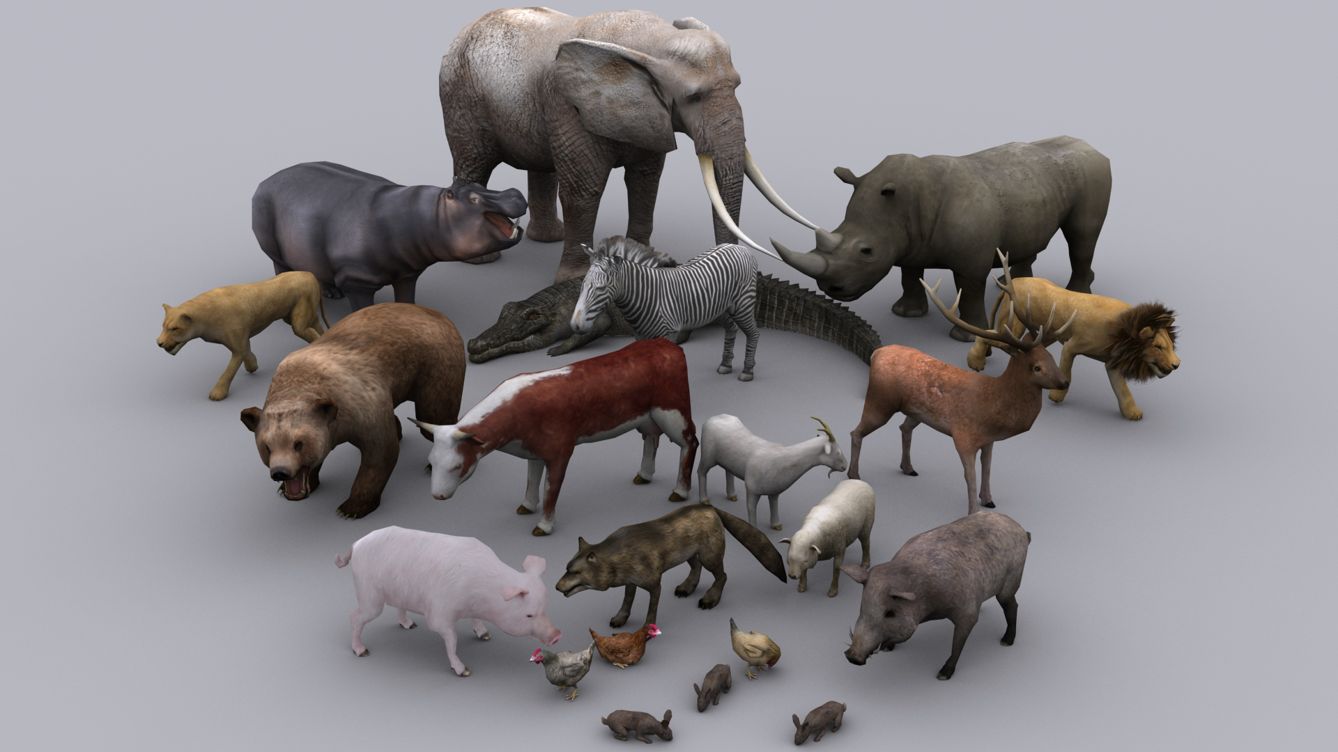 ANIMALS FULL PACK GAME READY ANIMATED MODELS