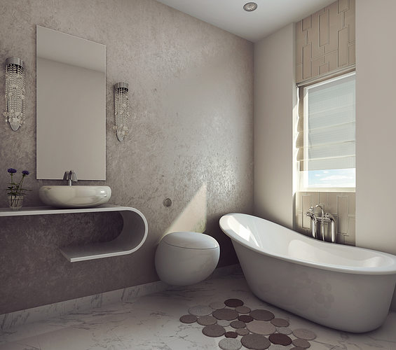modern earthy design bath room 3d model max 1