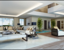 Modern White Living Room With Waterpool 3D Model