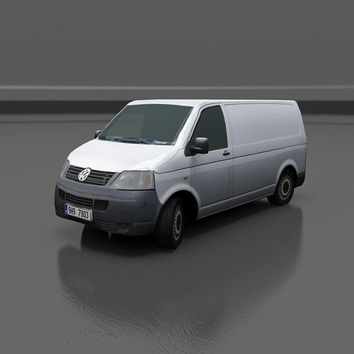 volkswagen transporter t5 3d model low-poly max obj mtl fbx 1