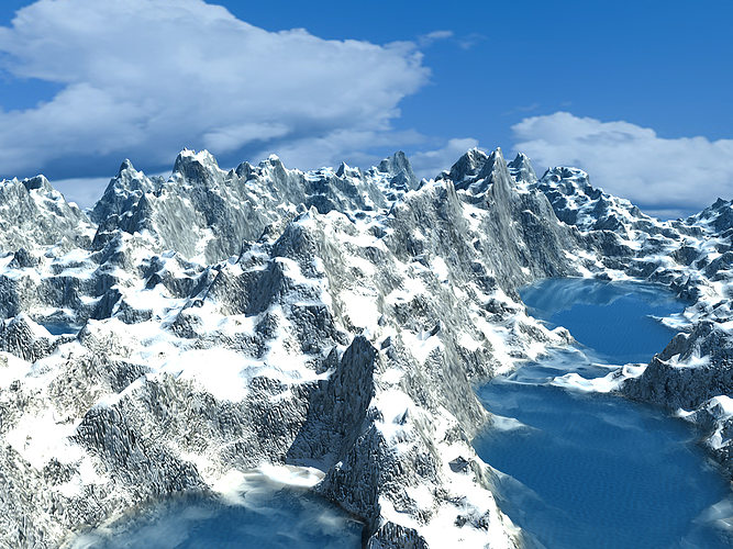 ice mountain environment 3d model ma mb 1