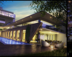 modern hotel with swimming pool  3d