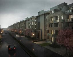 3d model street with condominiums