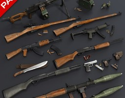 Low Poly Weapons Mega Pack 3D model