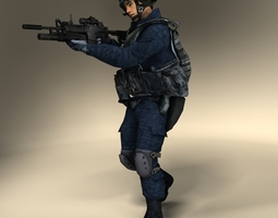 swat police officer 3d model low-poly max obj 3ds fbx lwo lw lws ma mb