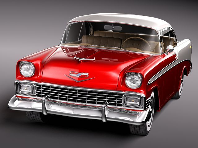 chevrolet bel air 1956 hardtop coupe 3d model max obj 3ds. Black Bedroom Furniture Sets. Home Design Ideas