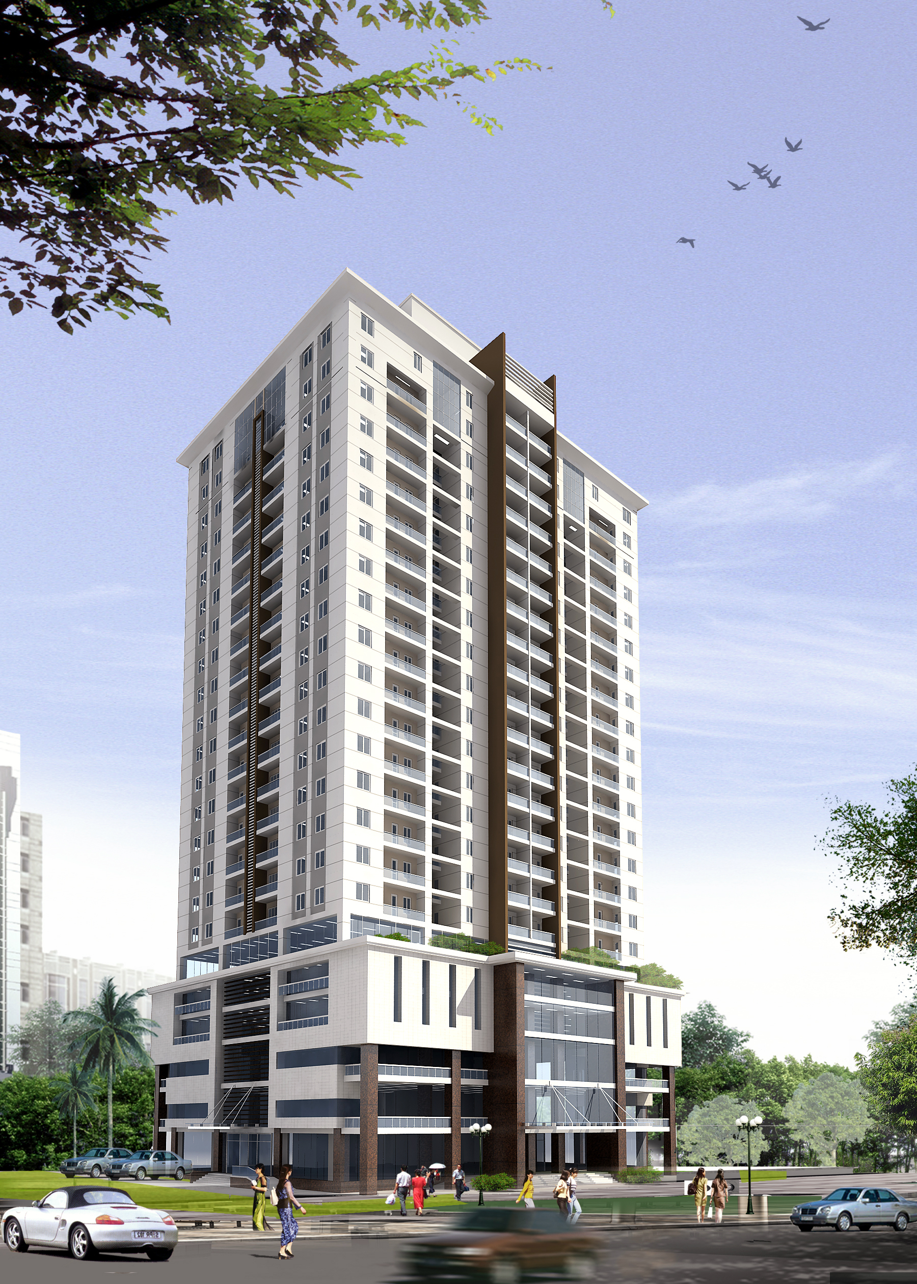 Exterior: 3D Models Detailed High Rise Building