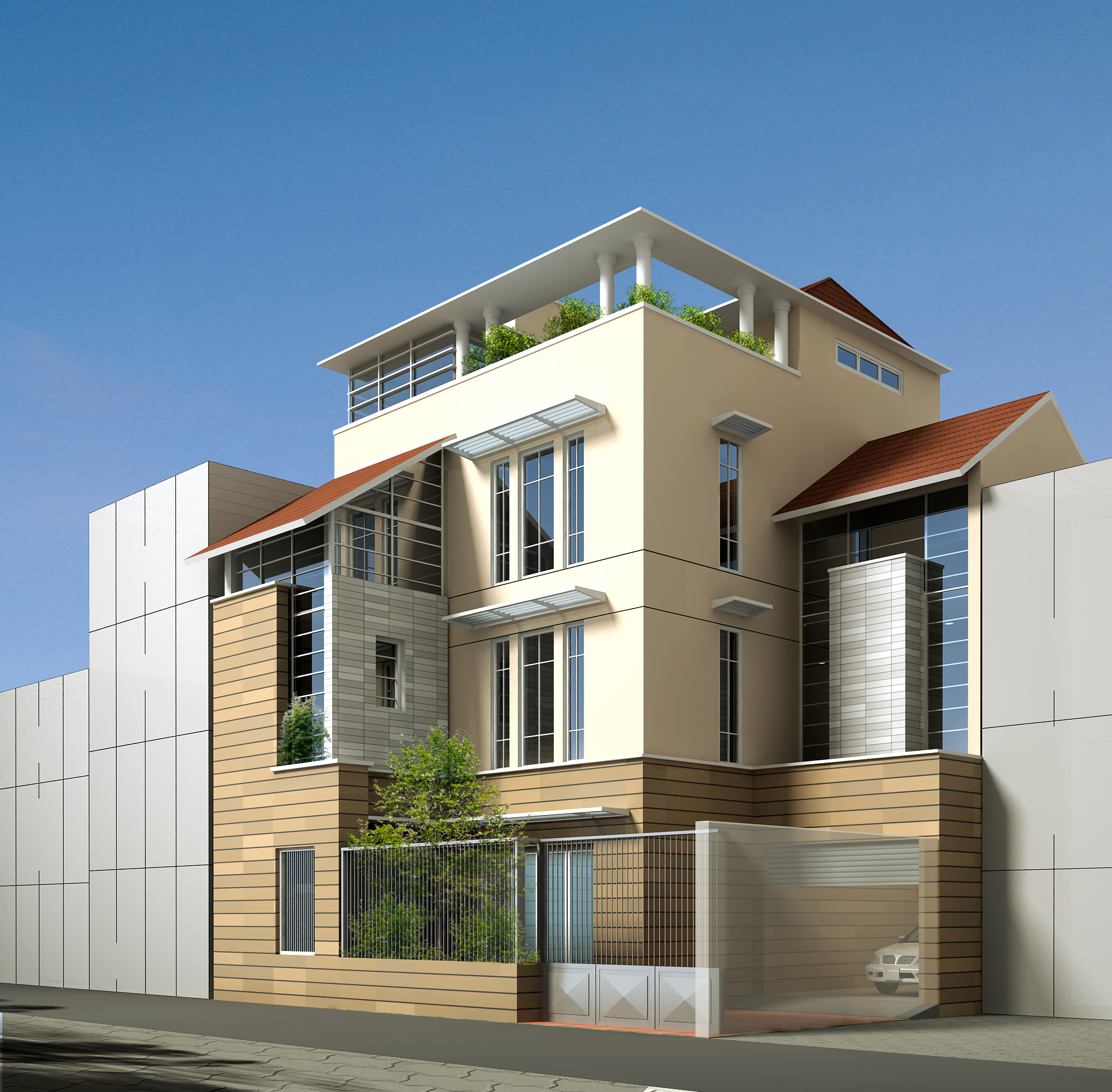 Contemporary Multi Story House 3d Model Max Obj 3ds Mtl 1 ...