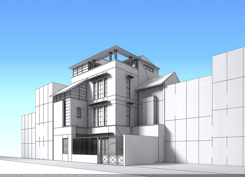 Contemporary multi story house 3d model max obj 3ds for 3d house builder online