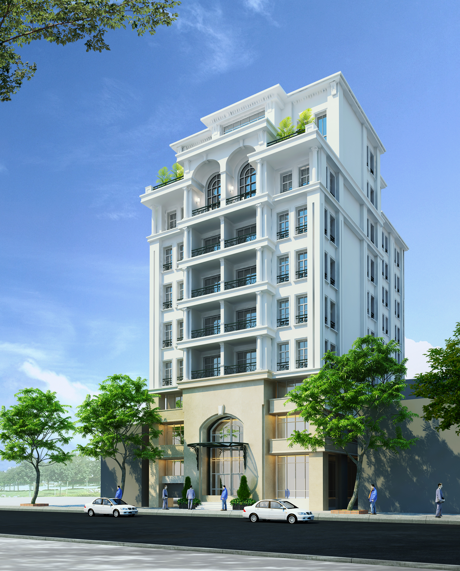 New Construction Apartment Building: Detailed Neoclassical Apartment Building 3D Model MAX