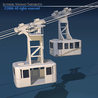 cableway wagons 3d model obj mtl 3ds c4d dxf 1