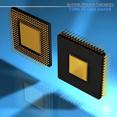 computer chip 3d model obj 3ds c4d dxf. Black Bedroom Furniture Sets. Home Design Ideas