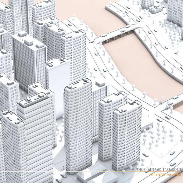 City on river | 3D model