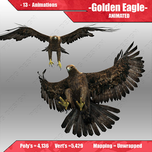 golden eagle animated 3d model low-poly rigged animated max fbx 1