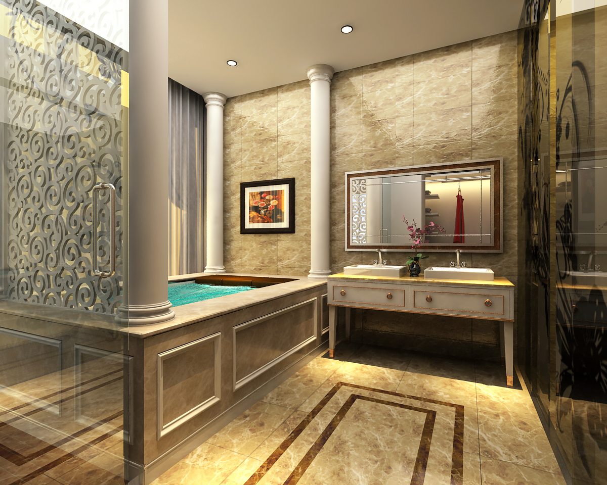 3d Models Photoreal Bathroom 3d Model Max 1