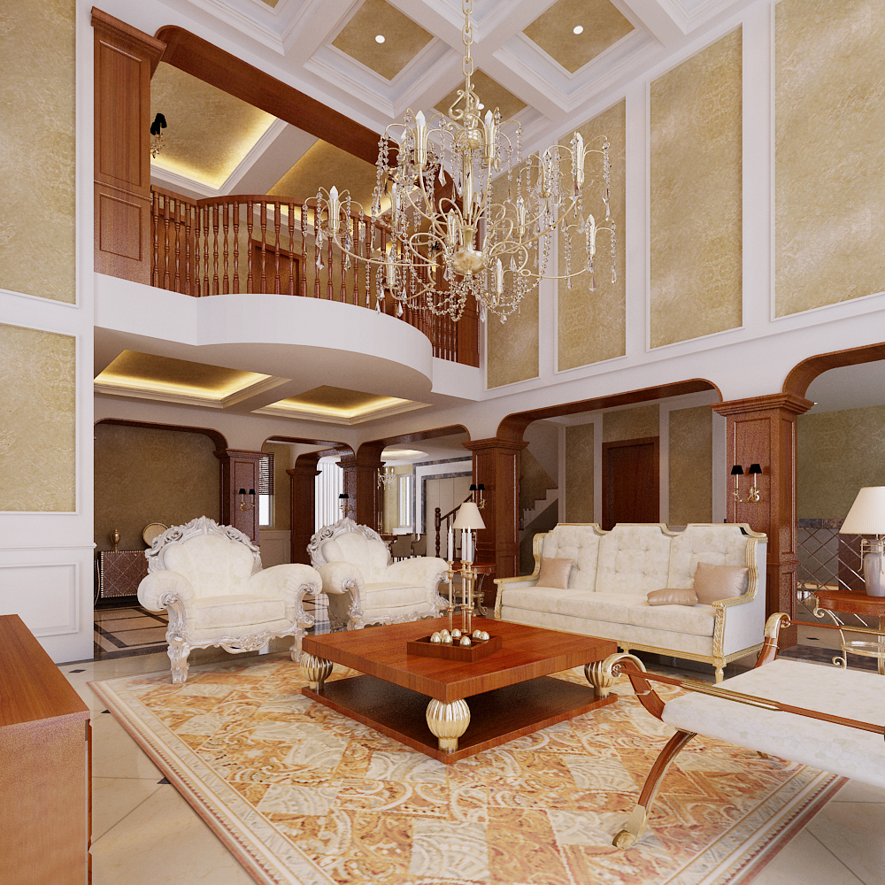 Luxury House Interior Living Room: Photoreal Luxury Living Room Interior 3D Model MAX