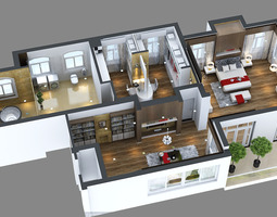 Photoreal bedroom floor Apartment 3D model