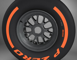 F1 tyre hard front 3D