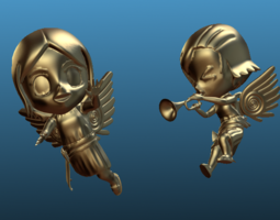 flying and trumphet chibi-angles 3d printable model