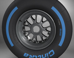 3d model f1 tyre wet front