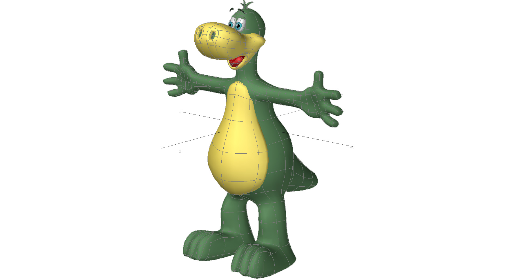 Cartoon Characters 3d Model : Dinosaur cartoon character d model rigged max obj ds fbx