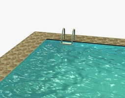 3d model low poly swimming pool realtime