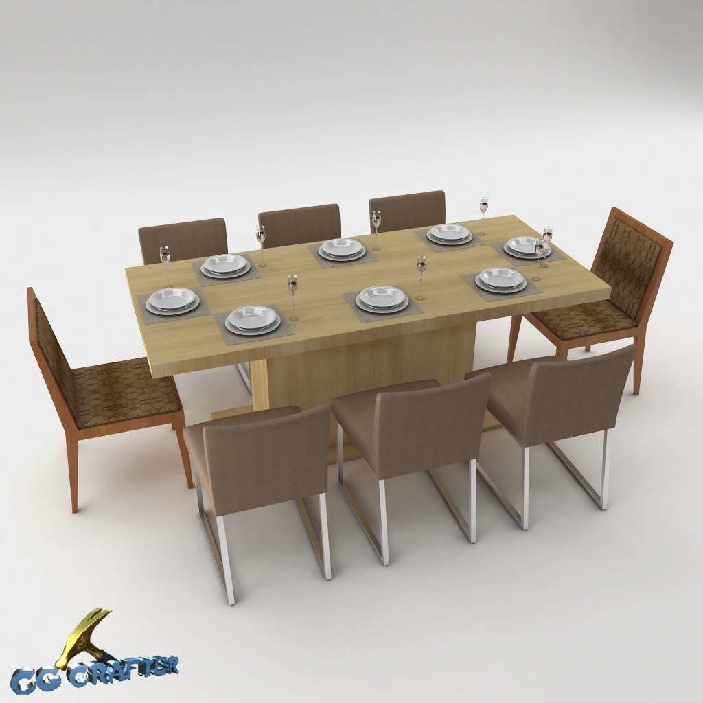 Dining table set 3d model max 3ds fbx mtl for Dining table models