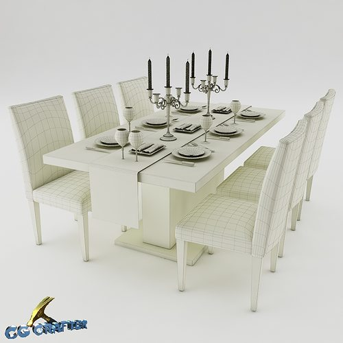 Dining table set 01 3D Model MAX OBJ 3DS FBX | CGTrader.com