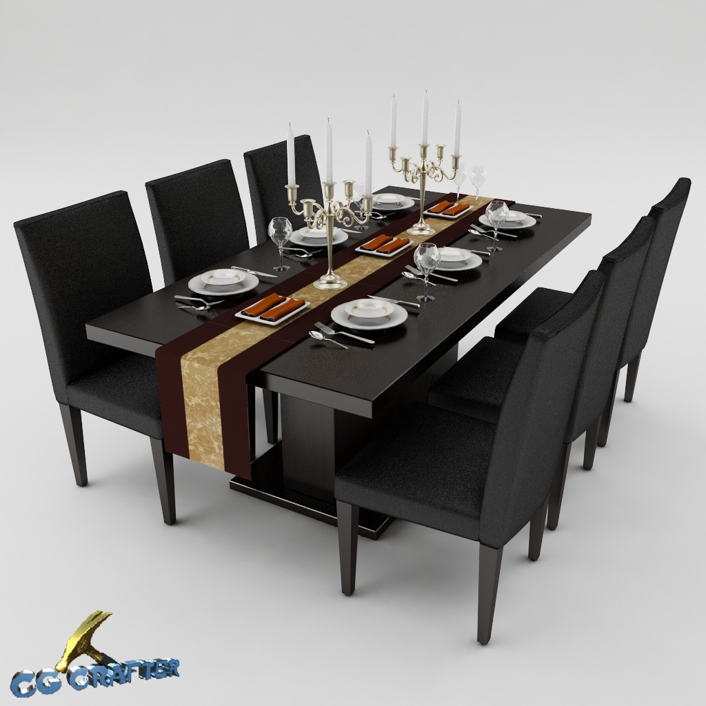 Dining table set 01 3d model max obj 3ds fbx for Dining table set latest design