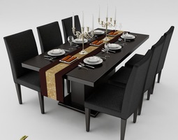 Dining table Set set 3D model