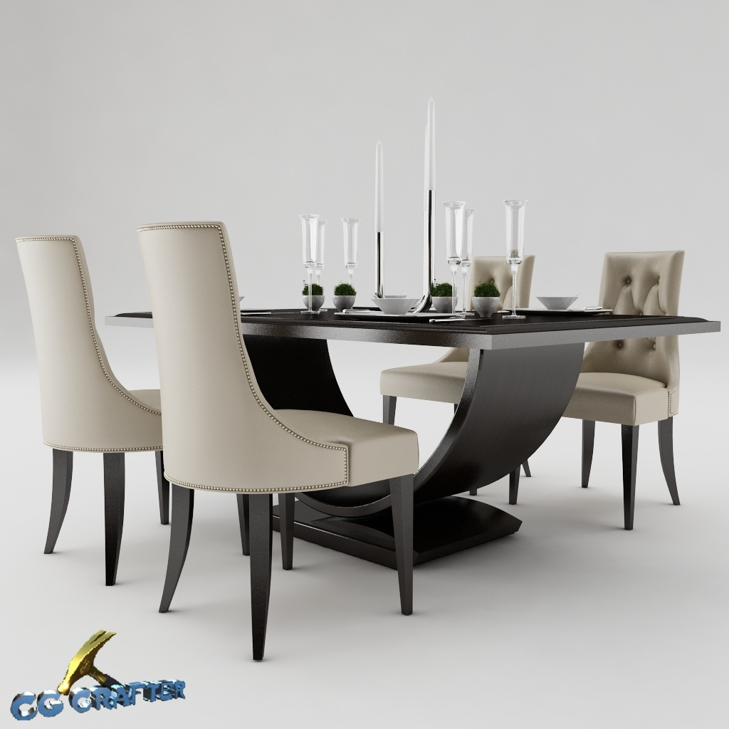 Dining table set 3d model max obj 3ds fbx cgtradercom for Kitchen furniture 3ds max free