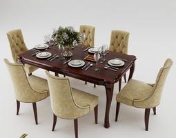 3d model dining table set