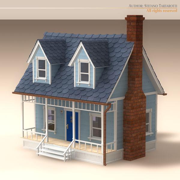 Cartoon House 1 3d Model Obj 3ds Fbx C4d Dxf Dae 1
