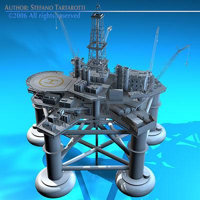 oil platform 3d model obj mtl 3ds fbx c4d dxf 1