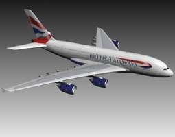 3D model Airbus A380 British Airways aircraft
