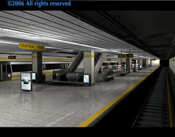 3D model Subway station with train
