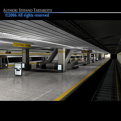 3d model subway station with train cgtrader. Black Bedroom Furniture Sets. Home Design Ideas