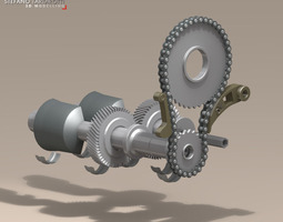 3D driveshaft gear and sprocket assembly
