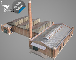 3d model low-poly old factory