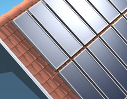 roof with solar panels 3d model